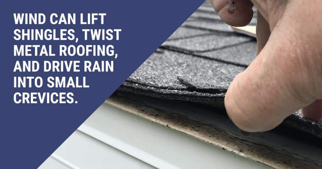 Image of damaged roof shingles. A caption reads: Wind can life shingles, twist metal roofing, and drive rain into small crevices.